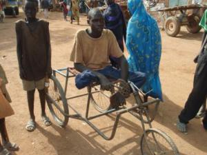 Dut in his wheelchair