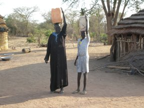 Carrying water from bore hole